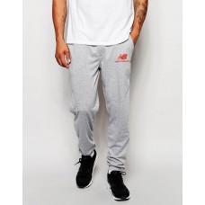 Мужские спортивные штаны Nike New Balance Найк серые (красный принт) (РЕПЛИКА)