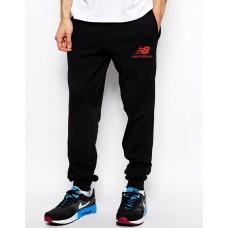 Мужские спортивные штаны Nike New Balance Найк черные (красный принт) (РЕПЛИКА)
