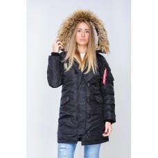 Женская зимняя куртка парка аляска черного цвета от Olymp, качественная женская зимняя куртка 100% нейлон!