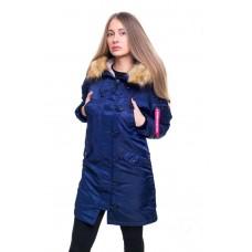 Женская зимняя парка аляска синего цвета от Olymp, теплая женская зимняя куртка 100% нейлон!