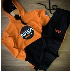 Костюм спортивный мужской Наса Nasa трехнитка оранжевый  - черный (РЕПЛИКА)