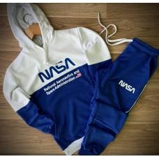 Спортивный костюм синий - белый Наса Nasa трехнитка (РЕПЛИКА)