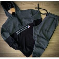 Серо черный спортивный костюм Nasa Наса трехнитка с капюшоном (РЕПЛИКА)