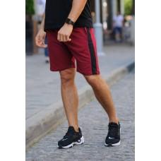 Бордовые шорты с черным лампасом